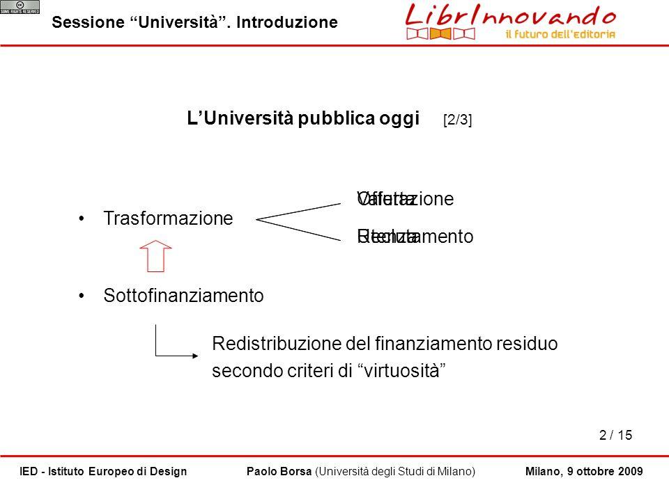 2 / 15 Paolo Borsa (Università degli Studi di Milano)IED - Istituto Europeo di DesignMilano, 9 ottobre 2009 LUniversità pubblica oggi [2/3] Trasformaz