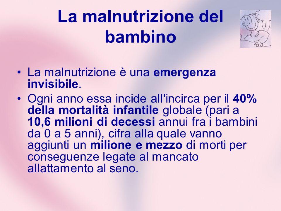 La malnutrizione del bambino La malnutrizione è una emergenza invisibile. Ogni anno essa incide all'incirca per il 40% della mortalità infantile globa