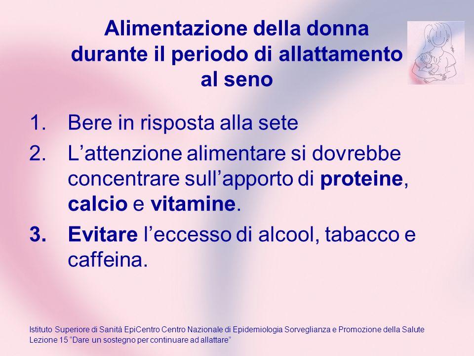 Alimentazione della donna durante il periodo di allattamento al seno 1.Bere in risposta alla sete 2.Lattenzione alimentare si dovrebbe concentrare sul