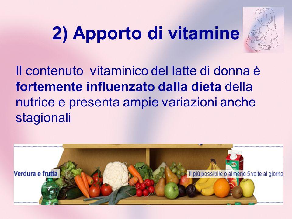 2) Apporto di vitamine Il contenuto vitaminico del latte di donna è fortemente influenzato dalla dieta della nutrice e presenta ampie variazioni anche