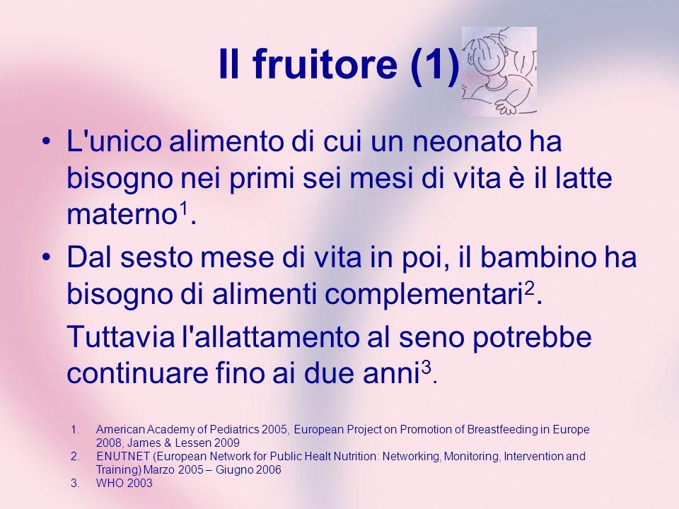 Il fruitore (1) L'unico alimento di cui un neonato ha bisogno nei primi sei mesi di vita è il latte materno 1. Dal sesto mese di vita in poi, il bambi