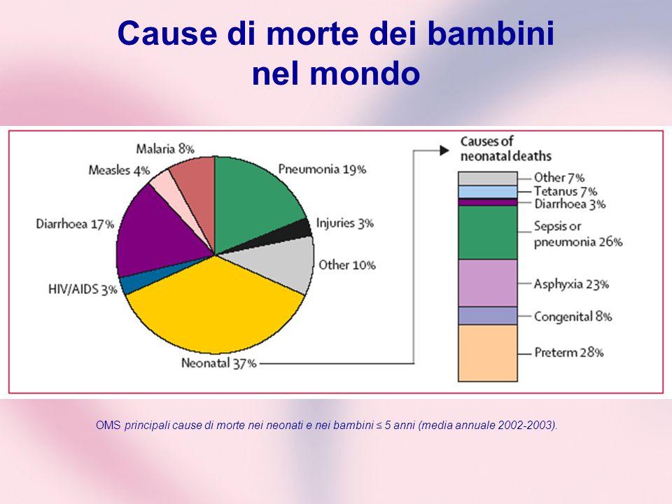 Cause di morte dei bambini nel mondo OMS principali cause di morte nei neonati e nei bambini 5 anni (media annuale 2002-2003).