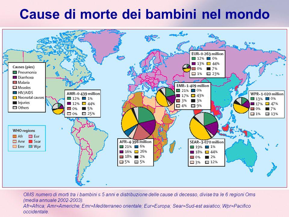 Cause di morte dei bambini nel mondo OMS numero di morti tra i bambini 5 anni e distribuzione delle cause di decesso, divise tra le 6 regioni Oms (med