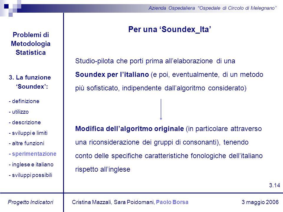 3 maggio 2006 Progetto Indicatori Azienda Ospedaliera Ospedale di Circolo di Melegnano Per una Soundex_Ita Studio-pilota che porti prima allelaborazio