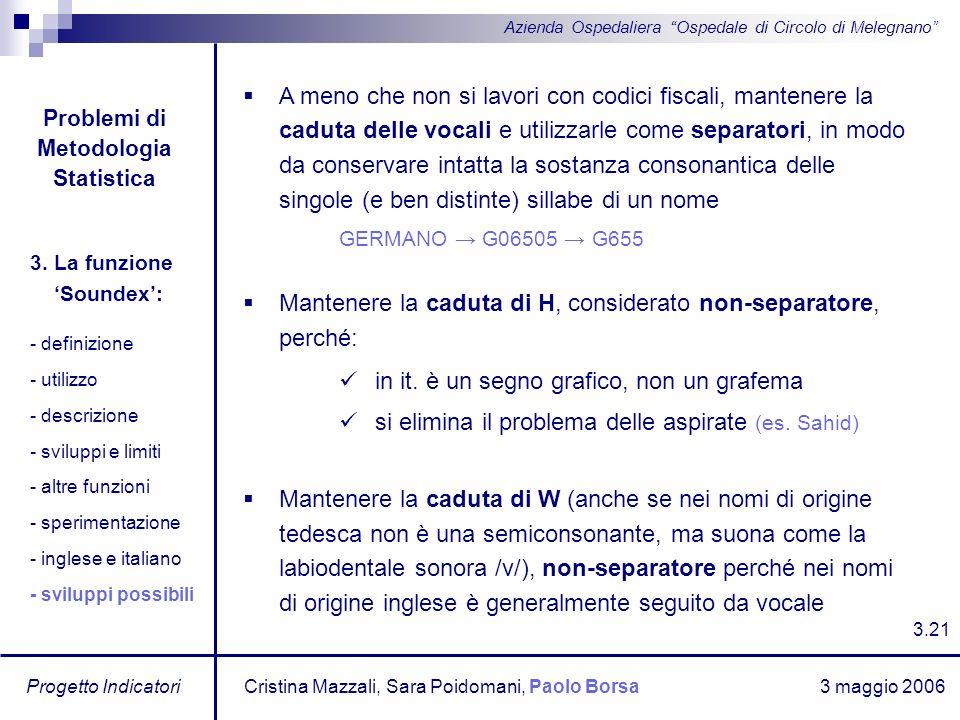 3 maggio 2006 Progetto Indicatori Azienda Ospedaliera Ospedale di Circolo di Melegnano A meno che non si lavori con codici fiscali, mantenere la cadut