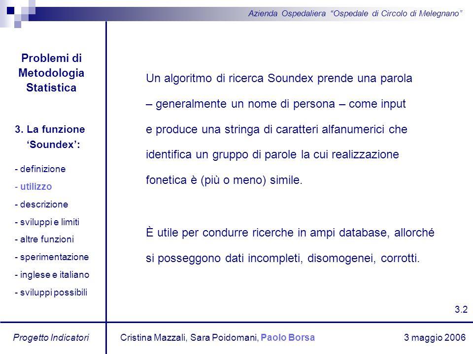 3 maggio 2006 Progetto Indicatori Azienda Ospedaliera Ospedale di Circolo di Melegnano Un algoritmo di ricerca Soundex prende una parola – generalment