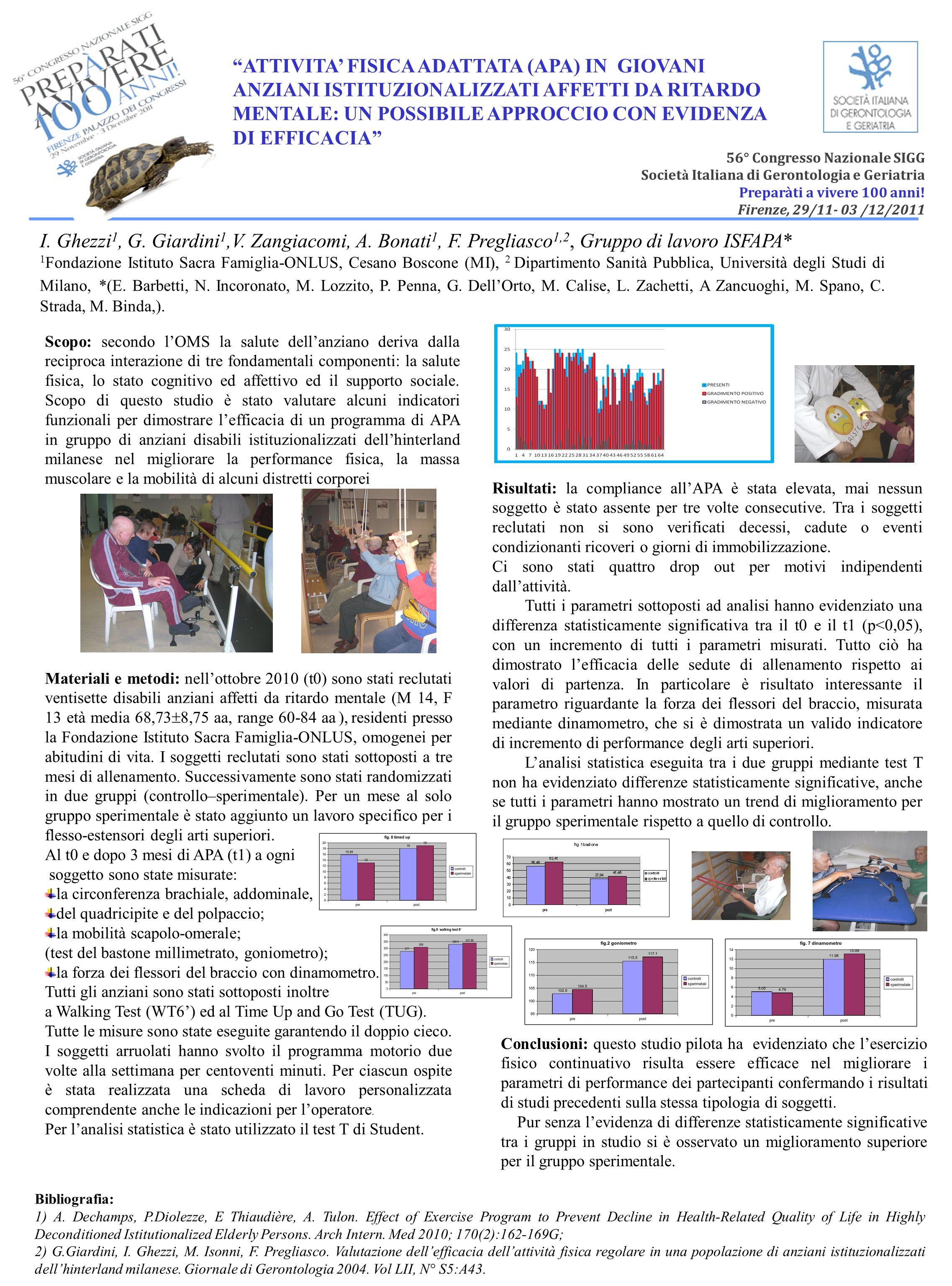56° Congresso Nazionale SIGG Societ à Italiana di Gerontologia e Geriatria Preparàti a vivere 100 anni! Firenze, 29/11- 03 /12/2011 Scopo: secondo lOM