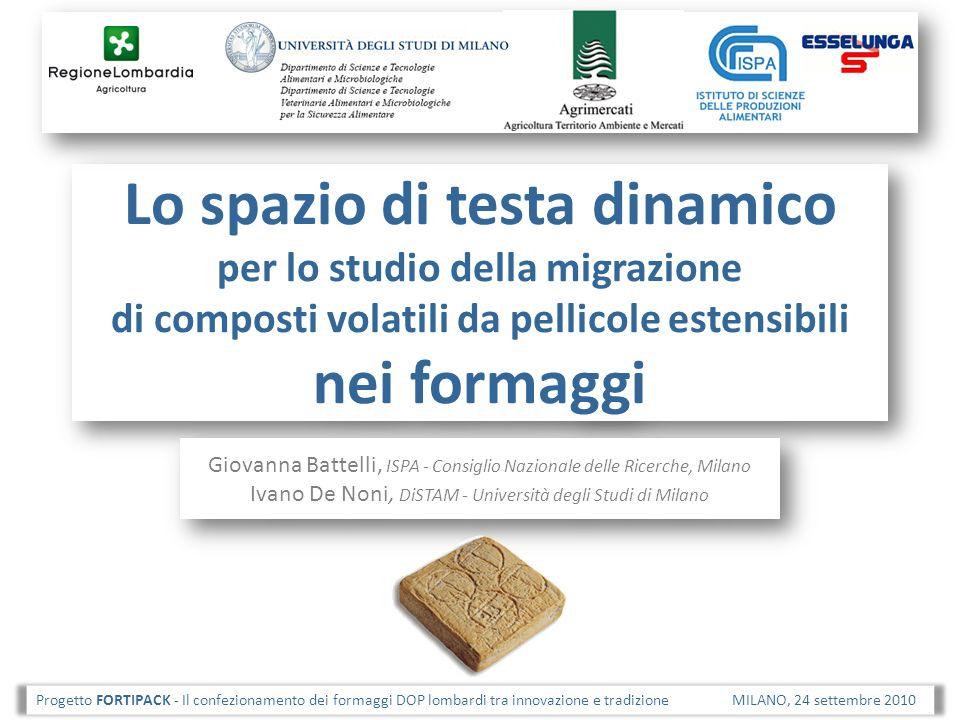 Lo spazio di testa dinamico per lo studio della migrazione di composti volatili da pellicole estensibili nei formaggi Giovanna Battelli, ISPA - Consig