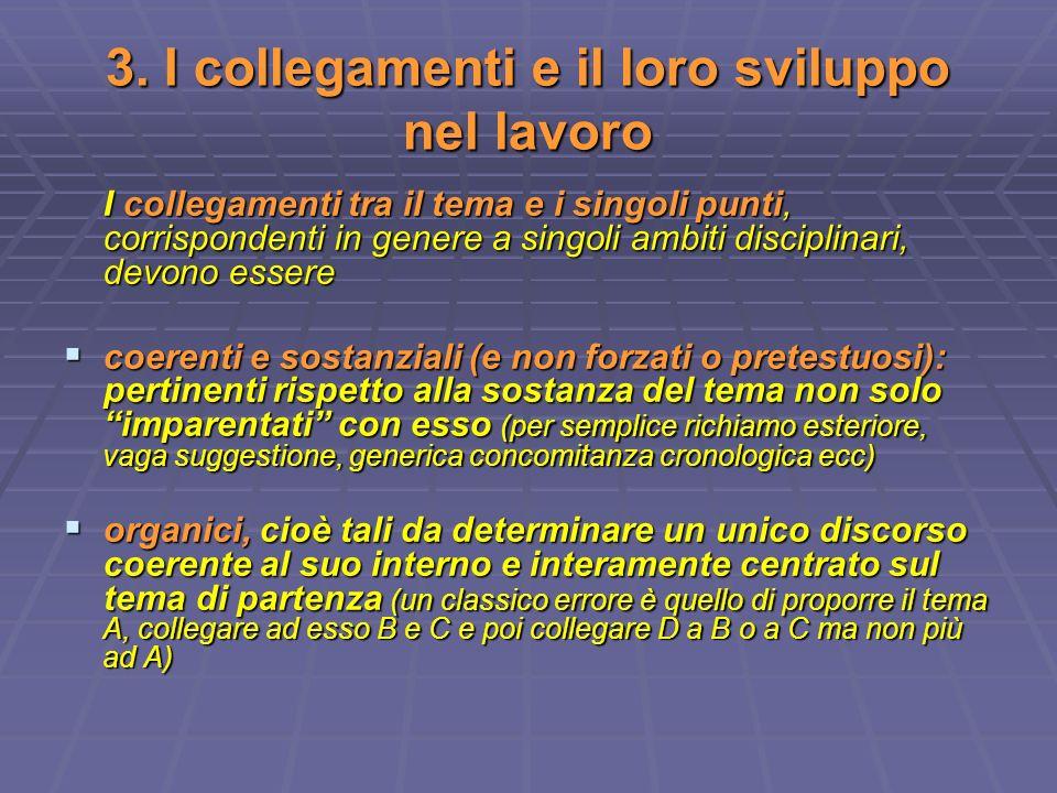 3. I collegamenti e il loro sviluppo nel lavoro I collegamenti tra il tema e i singoli punti, corrispondenti in genere a singoli ambiti disciplinari,