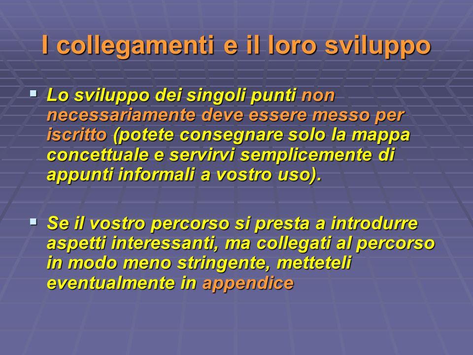 I collegamenti e il loro sviluppo Lo sviluppo dei singoli punti non necessariamente deve essere messo per iscritto (potete consegnare solo la mappa co