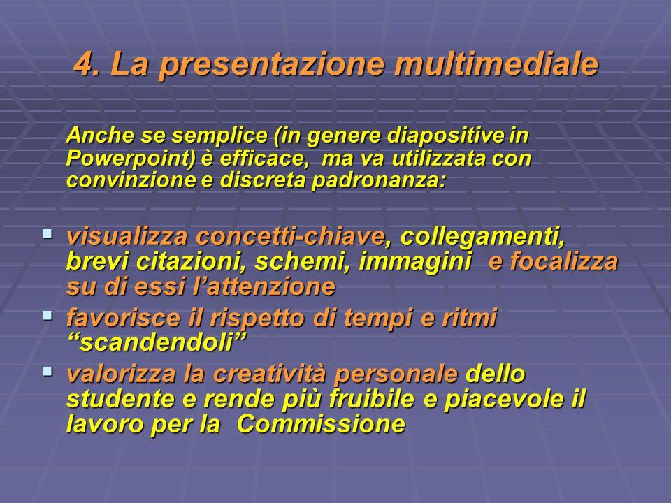 4. La presentazione multimediale Anche se semplice (in genere diapositive in Powerpoint) è efficace, ma va utilizzata con convinzione e discreta padro