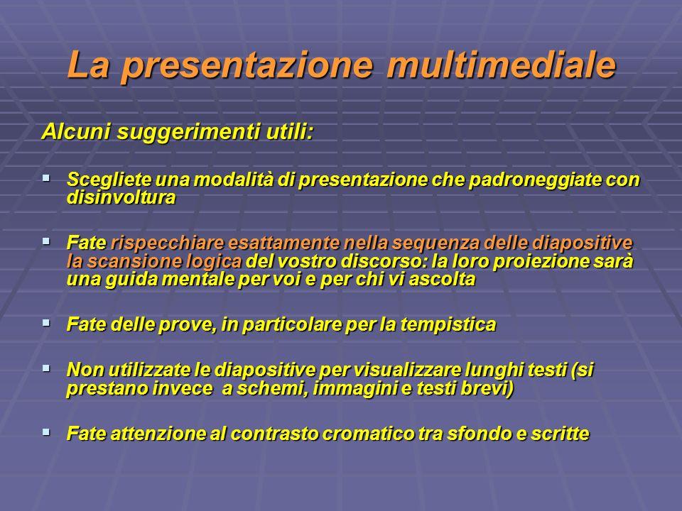 La presentazione multimediale Alcuni suggerimenti utili: Scegliete una modalità di presentazione che padroneggiate con disinvoltura Scegliete una moda