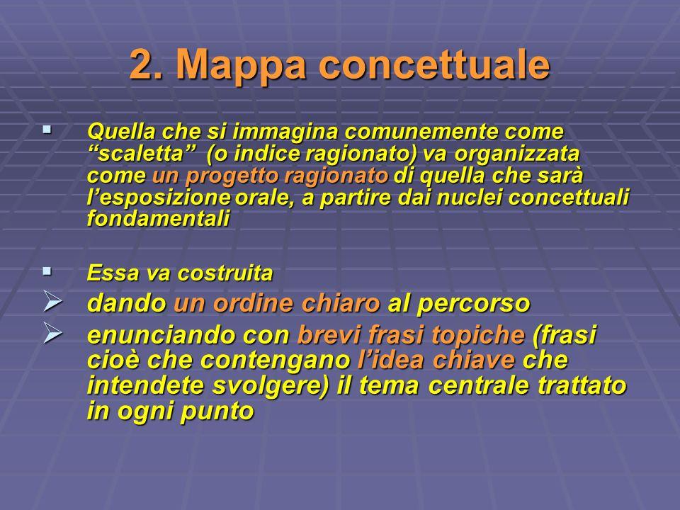 2. Mappa concettuale Quella che si immagina comunemente come scaletta (o indice ragionato) va organizzata come un progetto ragionato di quella che sar