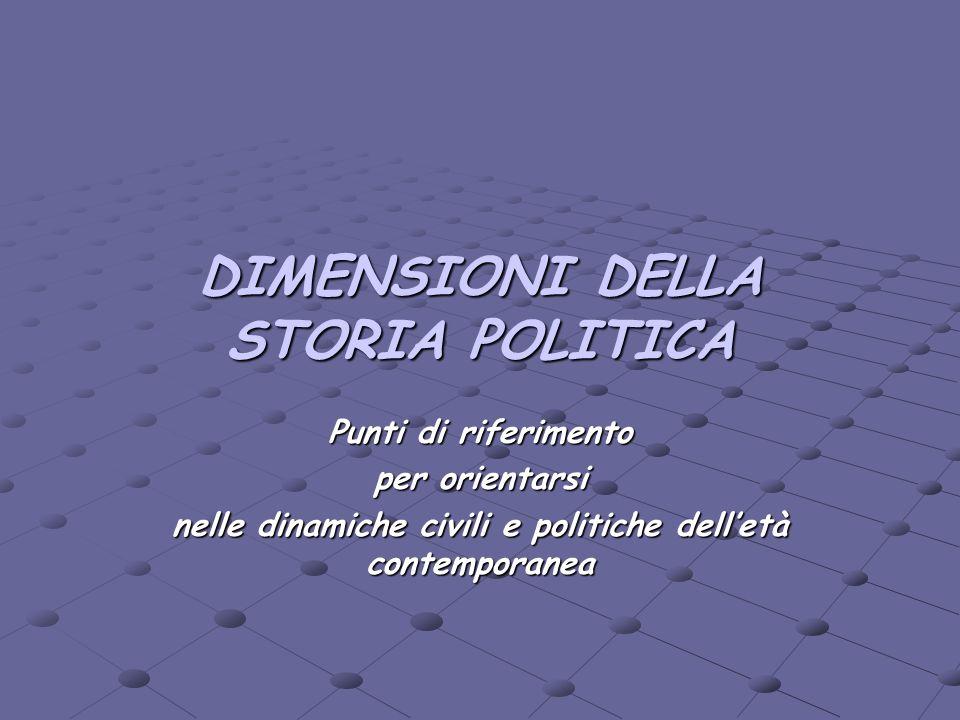 DIMENSIONI DELLA STORIA POLITICA Punti di riferimento per orientarsi nelle dinamiche civili e politiche delletà contemporanea