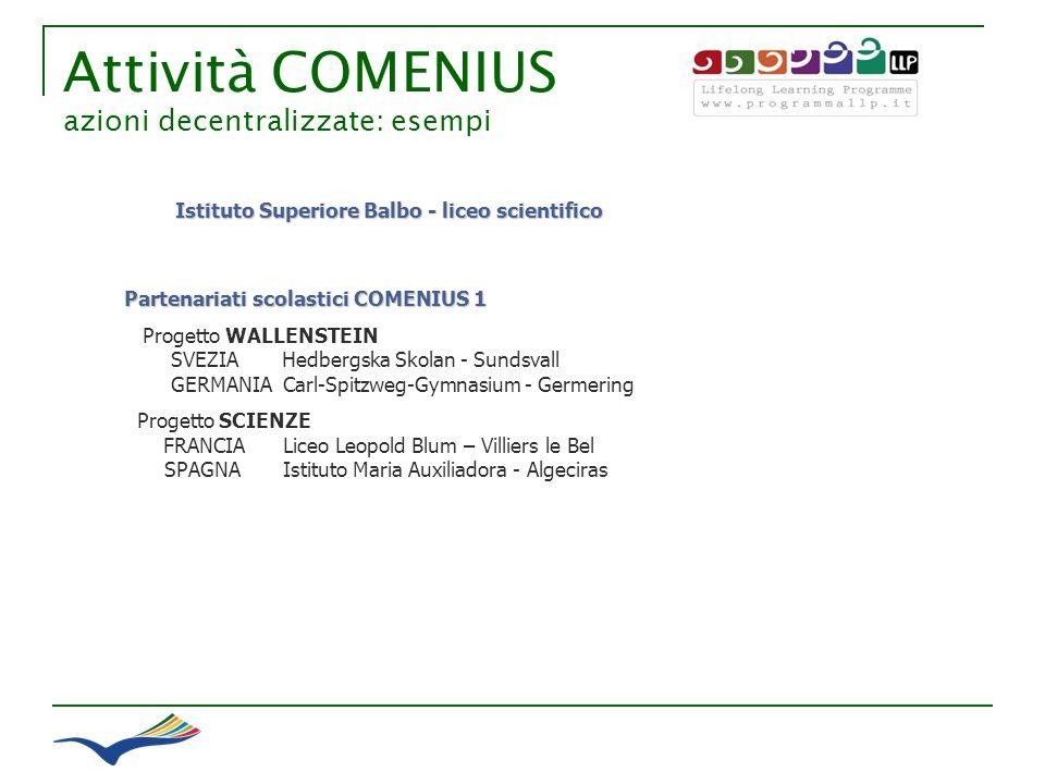 Attività COMENIUS azioni decentralizzate: esempi Partenariati scolastici COMENIUS 1 Progetto WALLENSTEIN SVEZIA Hedbergska Skolan - Sundsvall GERMANIA
