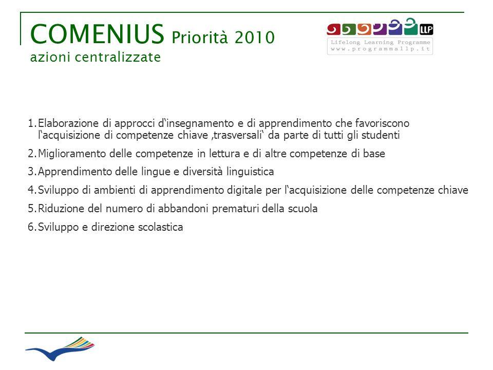 COMENIUS Priorità 2010 azioni centralizzate 1. 1.Elaborazione di approcci dinsegnamento e di apprendimento che favoriscono lacquisizione di competenze