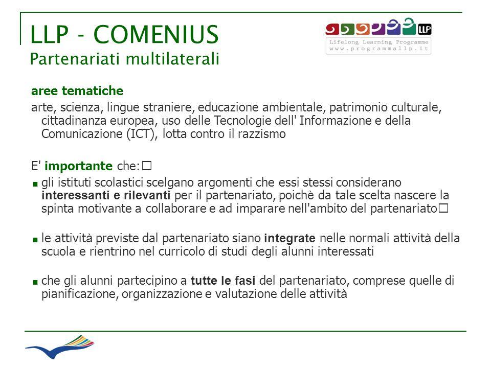 LLP - COMENIUS Partenariati multilaterali aree tematiche arte, scienza, lingue straniere, educazione ambientale, patrimonio culturale, cittadinanza eu