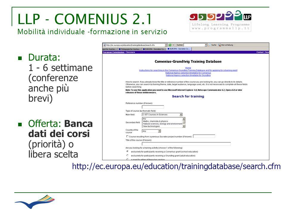 LLP - COMENIUS 2.1 Mobilità individuale -formazione in servizio http://ec.europa.eu/education/trainingdatabase/search.cfm Durata: 1 - 6 settimane (con