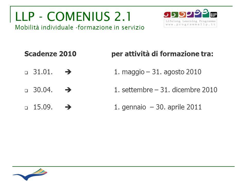 LLP - COMENIUS 2.1 Mobilità individuale -formazione in servizio Scadenze 2010 per attività di formazione tra: 31.01. 1. maggio – 31. agosto 2010 30.04