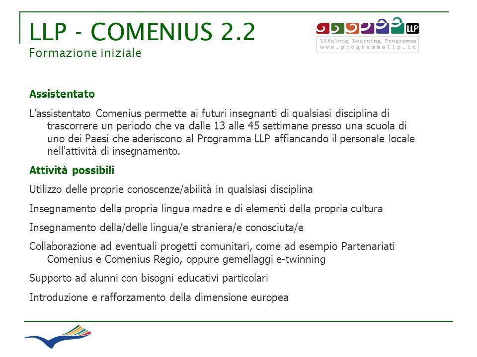 LLP - COMENIUS 2.2 Formazione iniziale Assistentato Lassistentato Comenius permette ai futuri insegnanti di qualsiasi disciplina di trascorrere un per