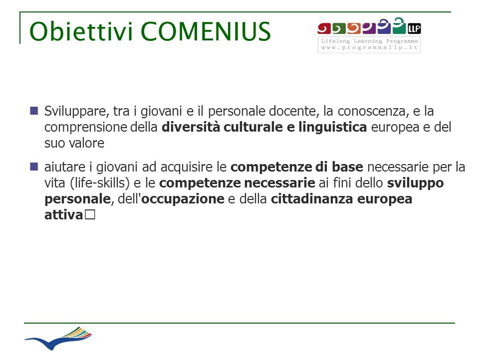 Obiettivi COMENIUS Sviluppare, tra i giovani e il personale docente, la conoscenza, e la comprensione della diversità culturale e linguistica europea