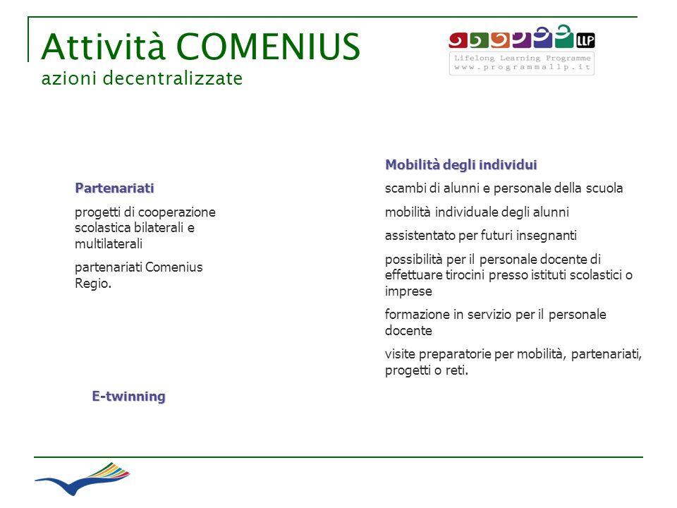 Attività COMENIUS azioni decentralizzate Mobilità degli individui scambi di alunni e personale della scuola mobilità individuale degli alunni assisten