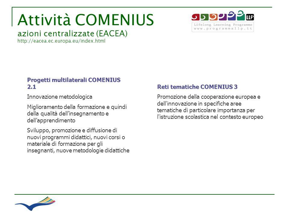 Attività COMENIUS azioni centralizzate (EACEA) http://eacea.ec.europa.eu/index.html Reti tematiche COMENIUS 3 Promozione della cooperazione europea e