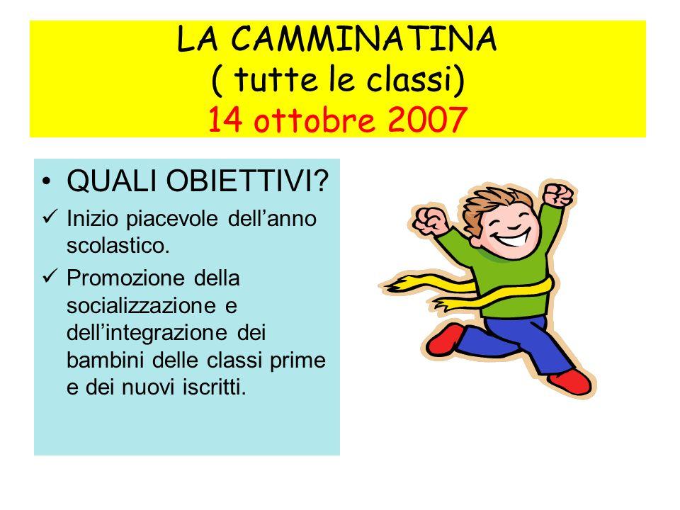 LA CAMMINATINA ( tutte le classi) 14 ottobre 2007 QUALI OBIETTIVI.