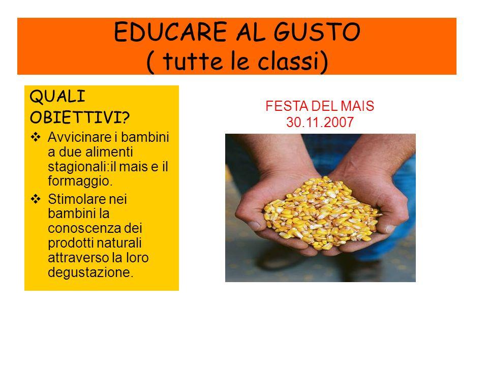 EDUCARE AL GUSTO ( tutte le classi) QUALI OBIETTIVI.