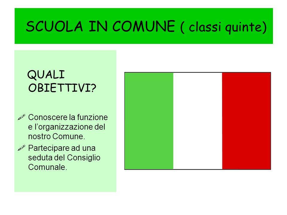 SCUOLA IN COMUNE ( classi quinte) QUALI OBIETTIVI.