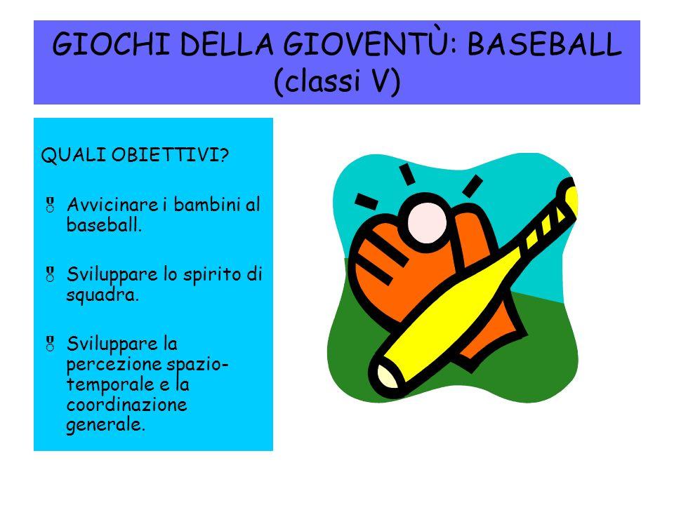 GIOCHI DELLA GIOVENTÙ: BASEBALL (classi V) QUALI OBIETTIVI.