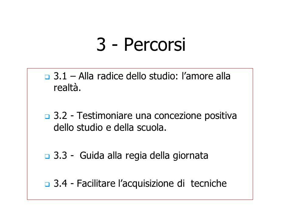 3 - Percorsi 3.1 – Alla radice dello studio: lamore alla realtà. 3.2 - Testimoniare una concezione positiva dello studio e della scuola. 3.3 - Guida a