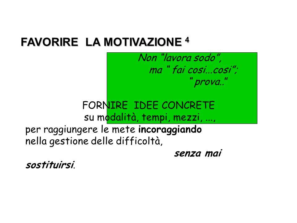 FAVORIRE LA MOTIVAZIONE 4 FAVORIRE LA MOTIVAZIONE 4 Non lavora sodo, ma fai cosi...cosi; prova.. FORNIRE IDEE CONCRETE su modalità, tempi, mezzi,...,