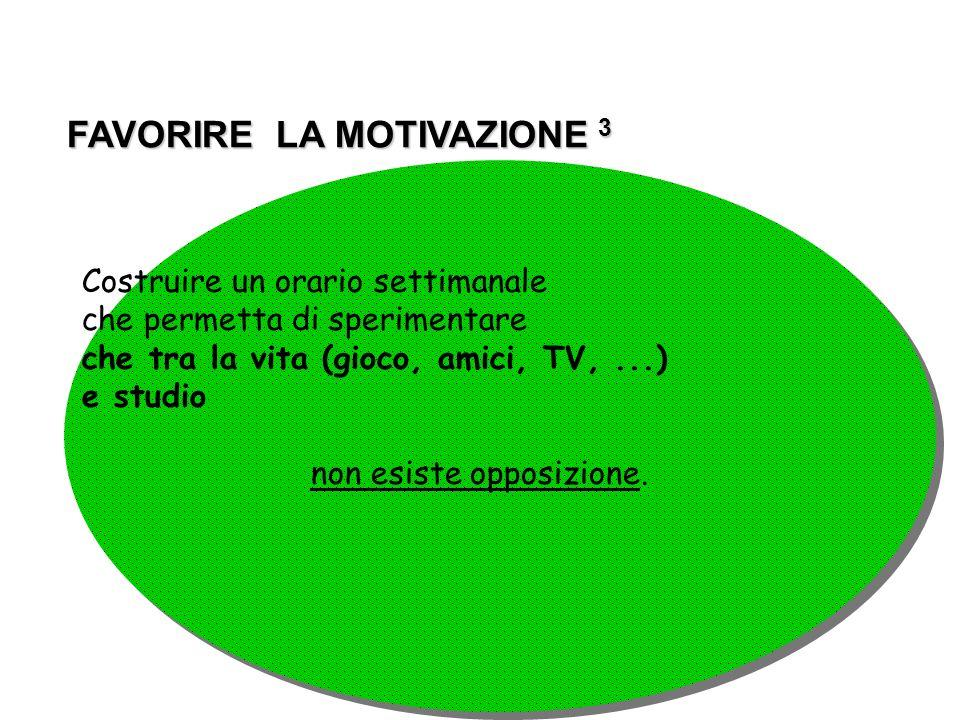 FAVORIRE LA MOTIVAZIONE 3 FAVORIRE LA MOTIVAZIONE 3 Costruire un orario settimanale che permetta di sperimentare che tra la vita (gioco, amici, TV,...
