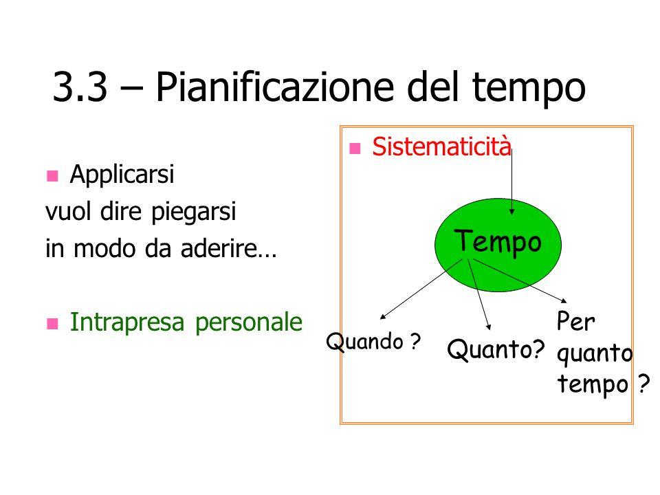 3.3 – Pianificazione del tempo Applicarsi vuol dire piegarsi in modo da aderire… Intrapresa personale Sistematicità Tempo Quando ? Quanto? Per quanto