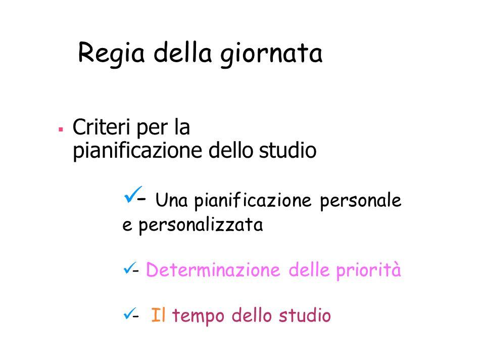 Criteri per la pianificazione dello studio Regia della giornata - Una pianificazione personale e personalizzata - Determinazione delle priorità - Il t