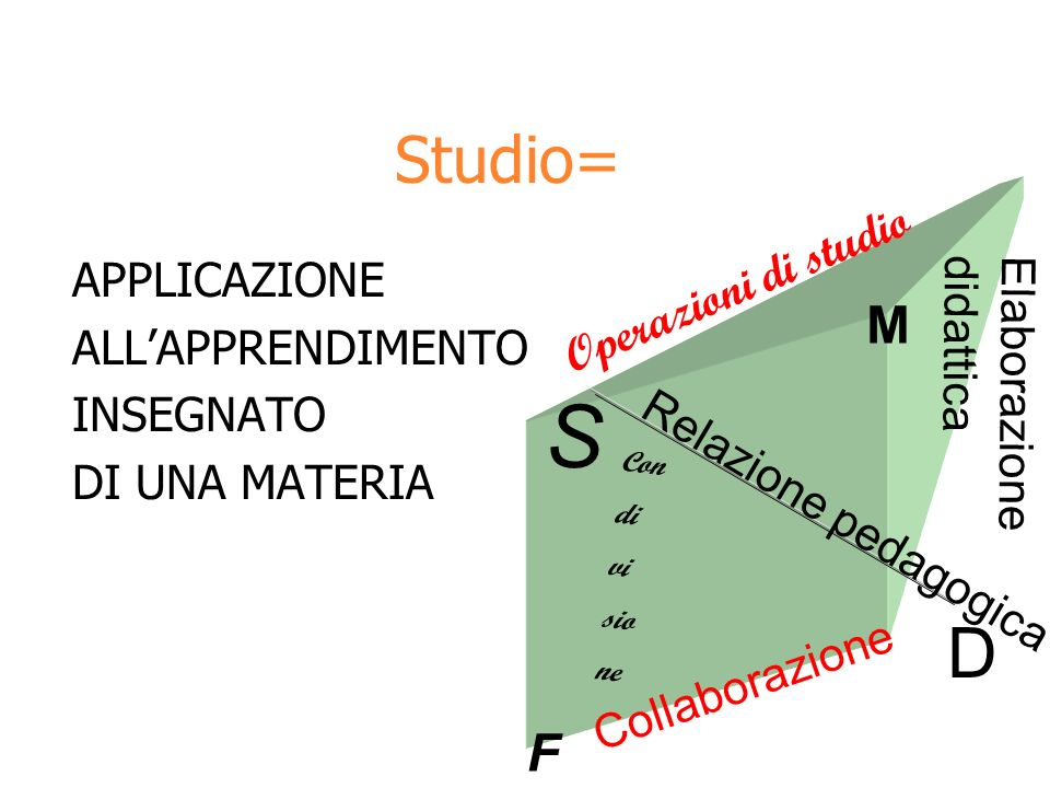 Studio= APPLICAZIONE ALLAPPRENDIMENTO INSEGNATO DI UNA MATERIA S D M F Relazione pedagogica Operazioni di studio Elaborazione didattica Collaborazione Con di vi sio ne