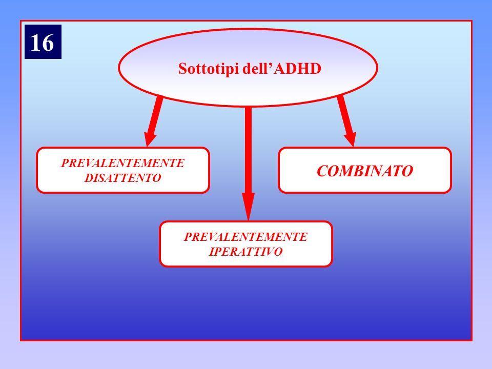 Sottotipi dellADHD PREVALENTEMENTE DISATTENTO COMBINATO PREVALENTEMENTE IPERATTIVO 16