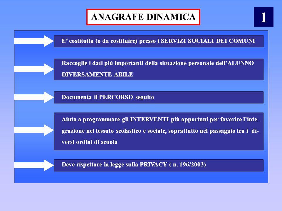 ANAGRAFE DINAMICA E costituita (o da costituire) presso i SERVIZI SOCIALI DEI COMUNI Raccoglie i dati più importanti della situazione personale dellAL