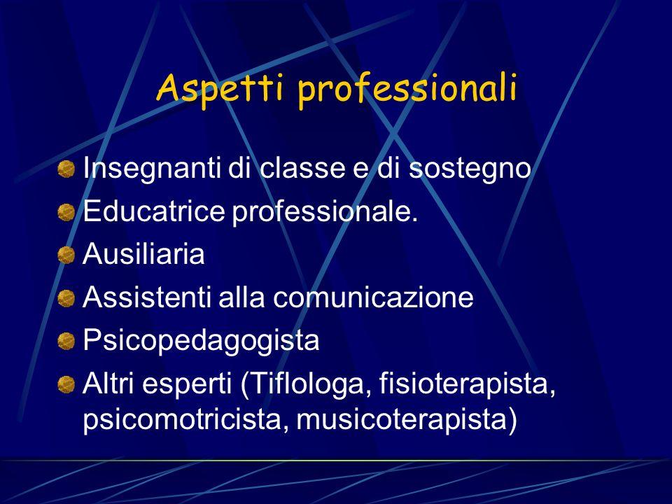 Aspetti professionali Insegnanti di classe e di sostegno Educatrice professionale. Ausiliaria Assistenti alla comunicazione Psicopedagogista Altri esp