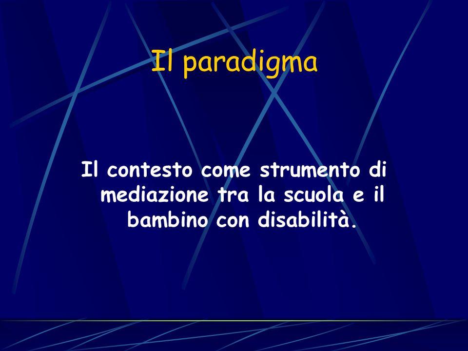 Il paradigma Il contesto come strumento di mediazione tra la scuola e il bambino con disabilità.