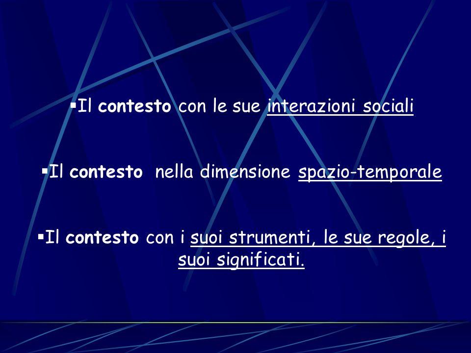 Il contesto con le sue interazioni sociali Il contesto nella dimensione spazio-temporale Il contesto con i suoi strumenti, le sue regole, i suoi signi