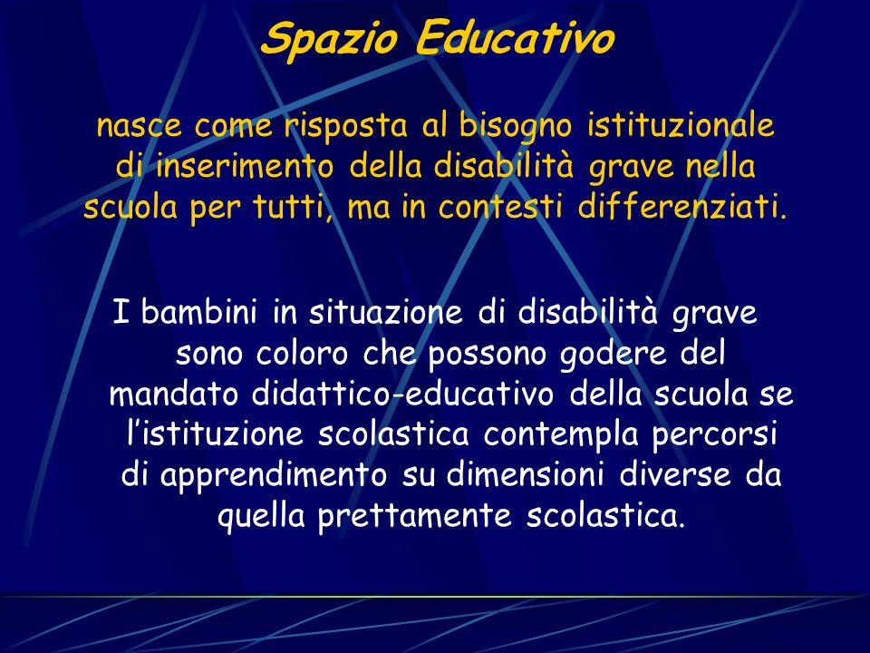 Spazio Educativo nasce come risposta al bisogno istituzionale di inserimento della disabilità grave nella scuola per tutti, ma in contesti differenzia