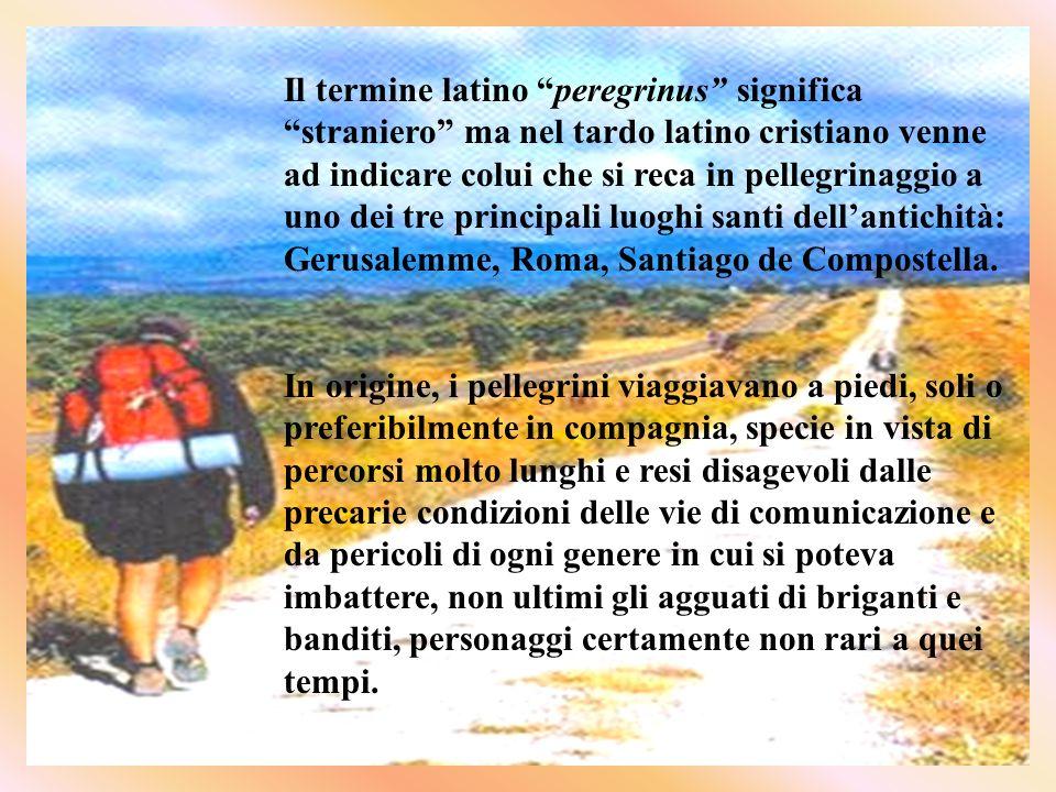Il termine latino peregrinus significa straniero ma nel tardo latino cristiano venne ad indicare colui che si reca in pellegrinaggio a uno dei tre principali luoghi santi dellantichità: Gerusalemme, Roma, Santiago de Compostella.