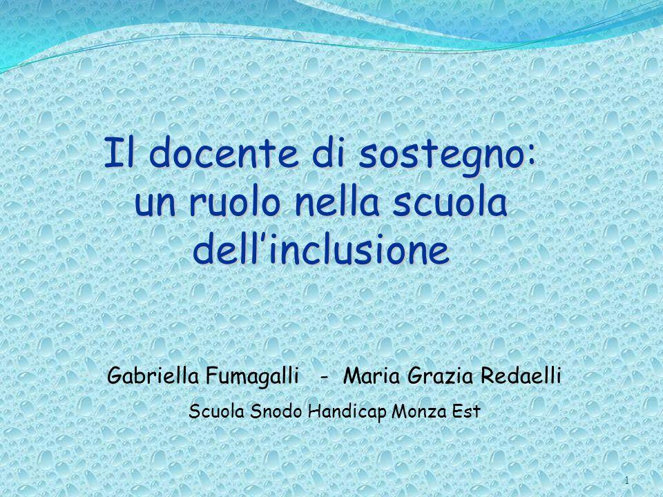 Il docente di sostegno: un ruolo nella scuola dellinclusione 1 Gabriella Fumagalli - Maria Grazia Redaelli Scuola Snodo Handicap Monza Est