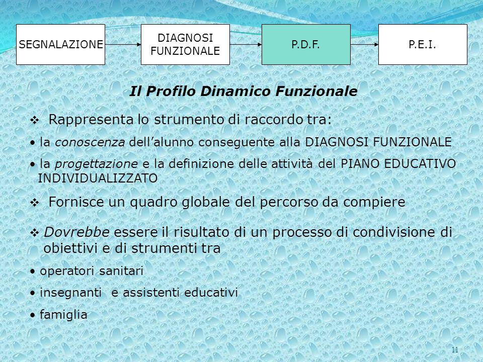 11 SEGNALAZIONE DIAGNOSI FUNZIONALE P.D.F.P.E.I. Rappresenta lo strumento di raccordo tra: la conoscenza dellalunno conseguente alla DIAGNOSI FUNZIONA