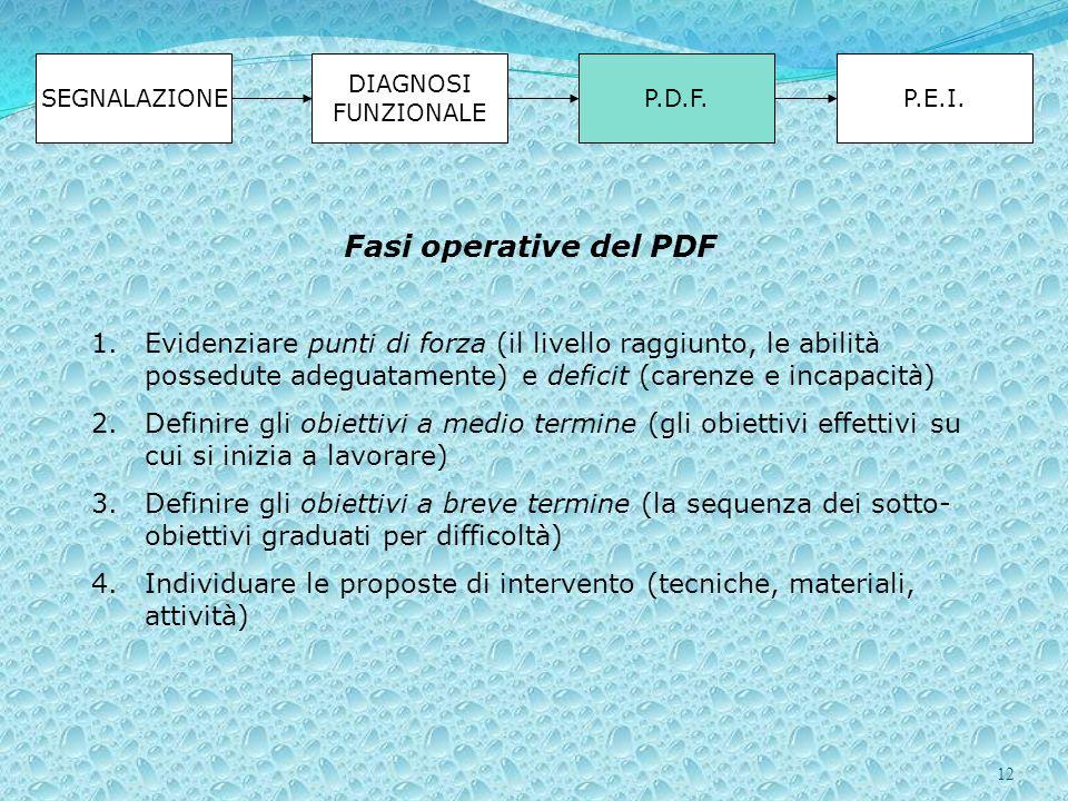 12 SEGNALAZIONE DIAGNOSI FUNZIONALE P.D.F.P.E.I. Fasi operative del PDF 1.Evidenziare punti di forza (il livello raggiunto, le abilità possedute adegu