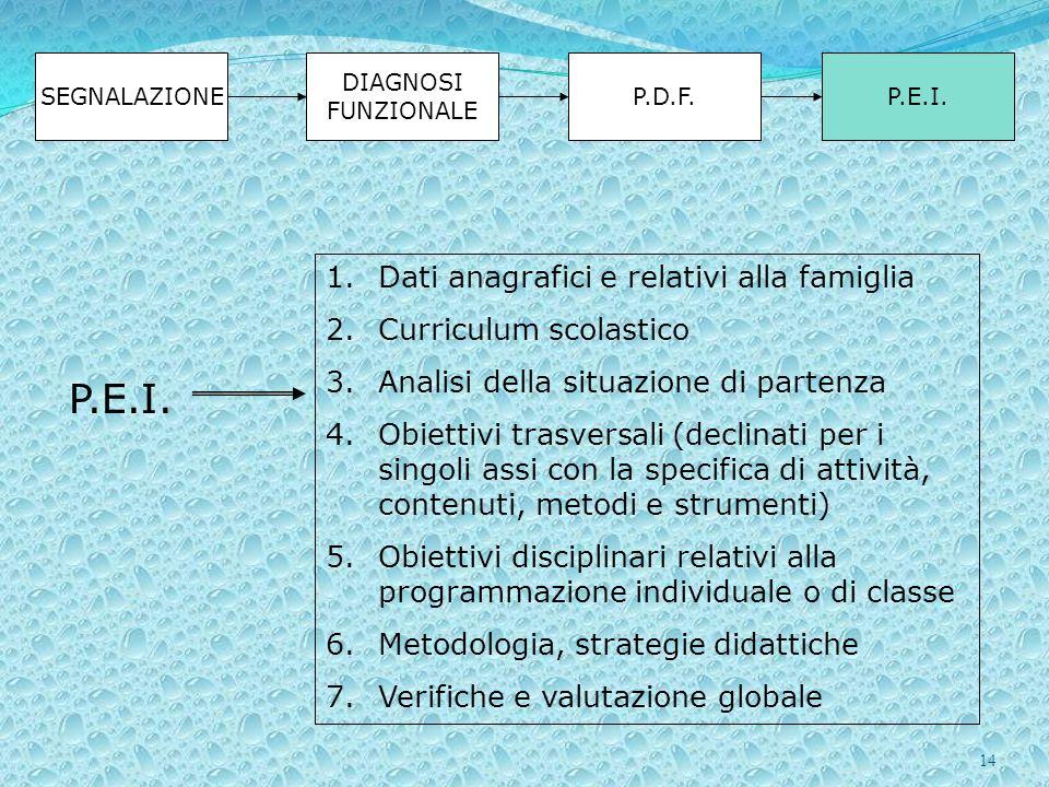 14 SEGNALAZIONE DIAGNOSI FUNZIONALE P.D.F.P.E.I. 1.Dati anagrafici e relativi alla famiglia 2.Curriculum scolastico 3.Analisi della situazione di part