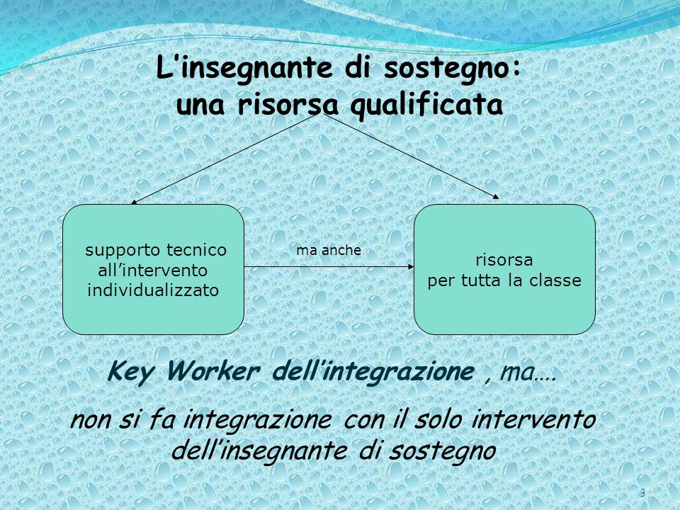 3 Linsegnante di sostegno: una risorsa qualificata Key Worker dellintegrazione, ma…. non si fa integrazione con il solo intervento dellinsegnante di s
