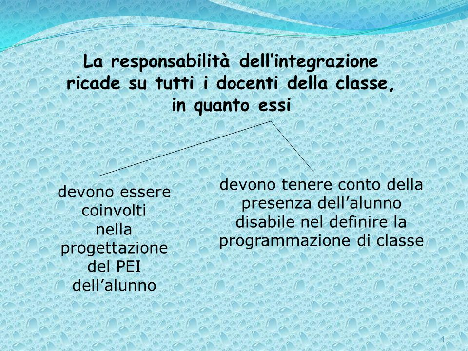 4 La responsabilità dellintegrazione ricade su tutti i docenti della classe, in quanto essi devono essere coinvolti nella progettazione del PEI dellal